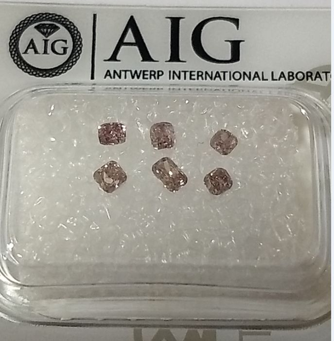6 pcs Diamonds - 0.44 ct - Cushion - fancy orange pink - SI2, I1