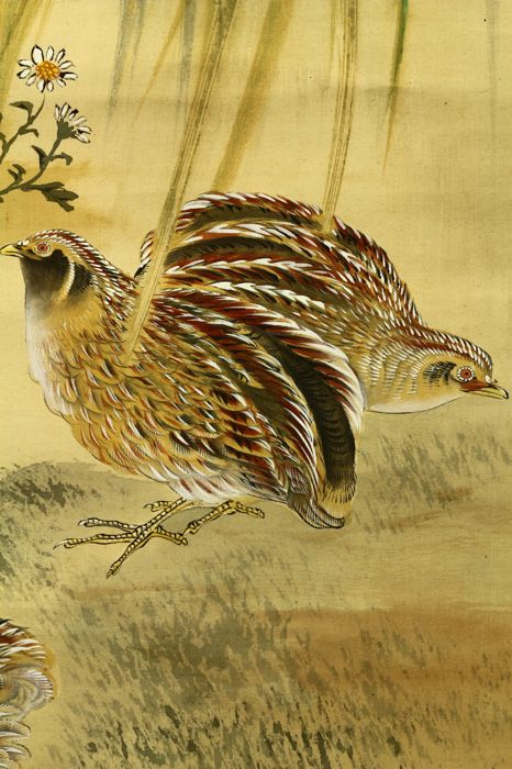 "Hand painted hanging scroll - Signed 'Shigeaki or Mosho' 茂章 - ""Quails"" - Japan - ca. 1930-40 (Showa Period)"