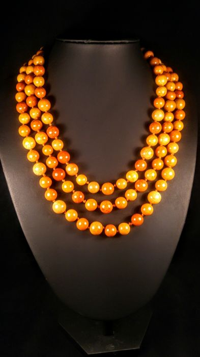 Vintage Egg yolk colour Modified round shape beads Baltic Amber necklace, 83 grams