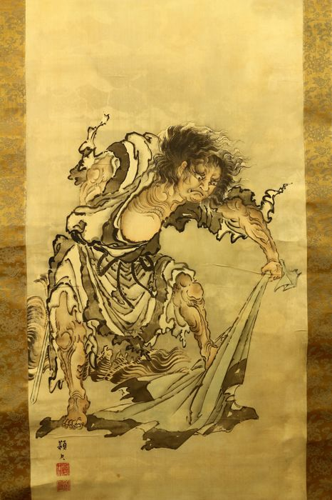 Hand painted hanging scroll - Signed 'Eishaku' 頴尺 - A disheveled man tearing a garment and holding a sword - Japan - Meiji Period (1868-1912)