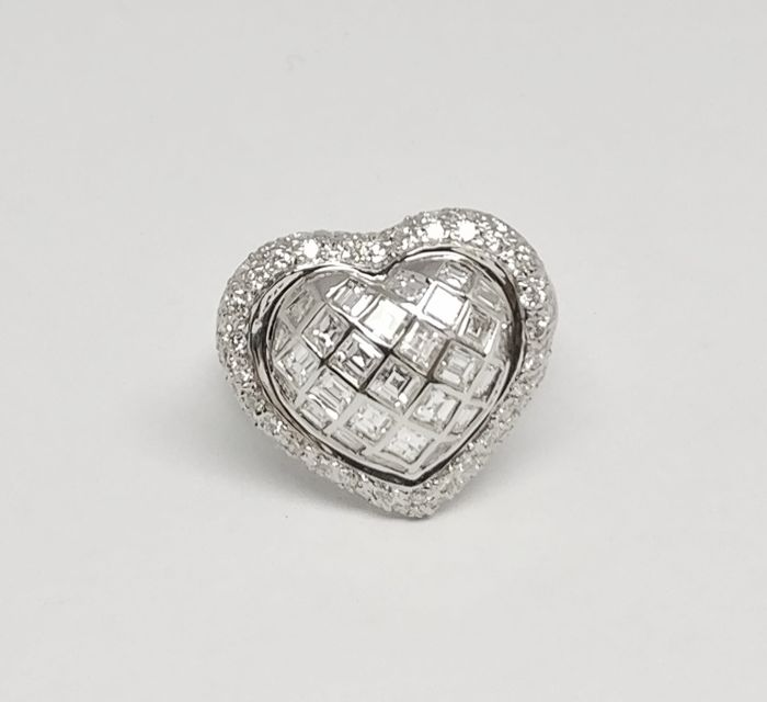 18 kt. White gold - Ring - 1.09 ct Diamond - Diamond