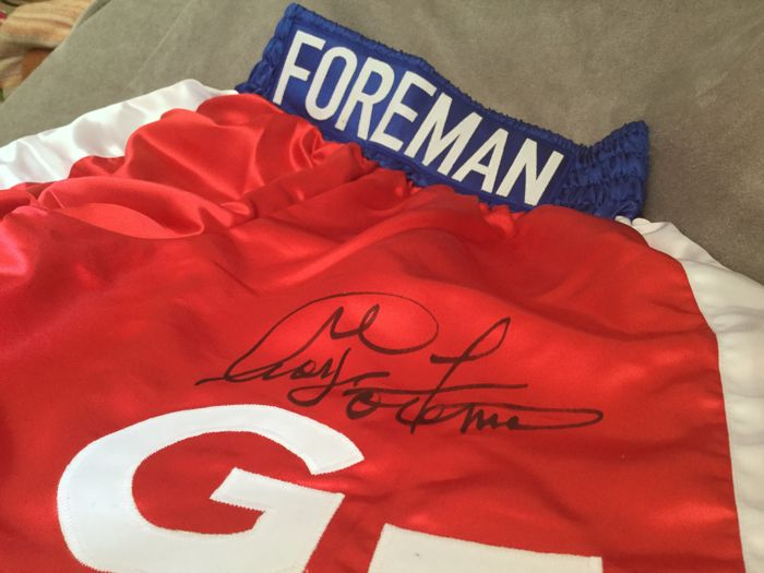 Boxing - Boxing shorts signed by George Foreman with 2 x JSA COA - Autograph