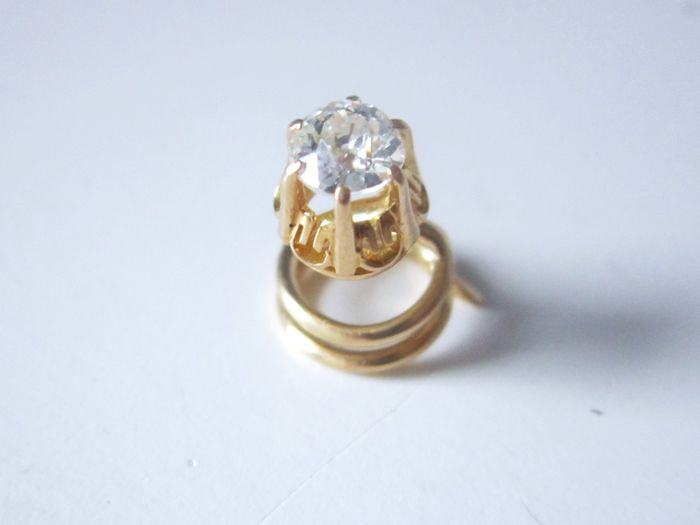 Yellow gold - Antique old cut diamond of 0.40 ct F / VVS made of 750 gold!