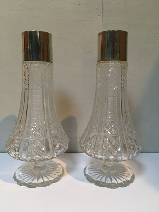 cut vases with silver plated edge - Set of 2