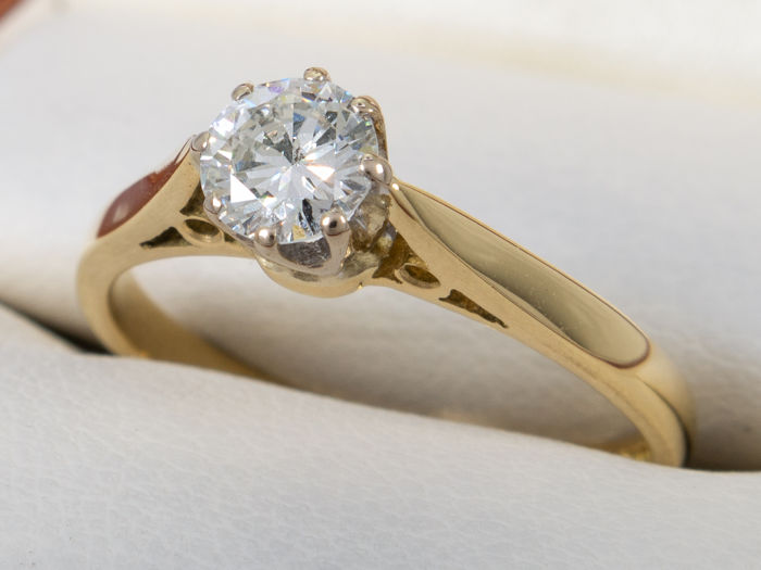 0.40 ct - Diamond solitare brilliant ring in 18K gold - No Reserveprice