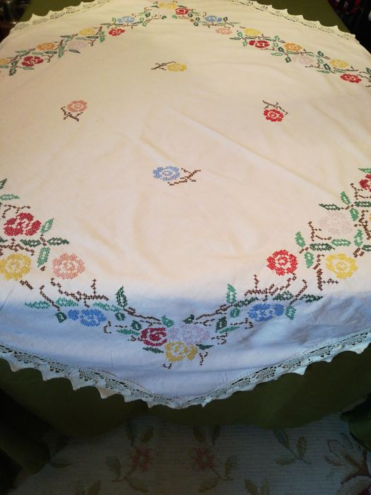 Embroidered tablecloth cross stitch on cotton