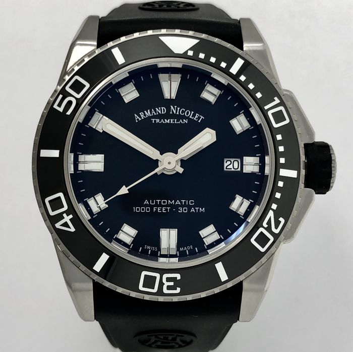Armand Nicolet - JS9 Diver Automatic Black Rubber WR 300M  - A480AGN-NR-GG4710N - Herren - NEW