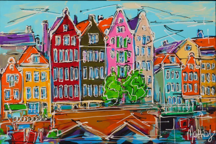 Mathias - Canal of Amsterdam, colored houses and bridge
