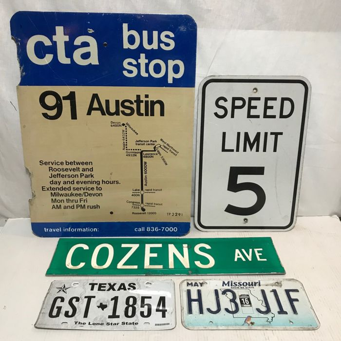 Bewegwijzering - Amerikaanse Street Signs en Kentekenplaten  - 1990-1999 (5 items)