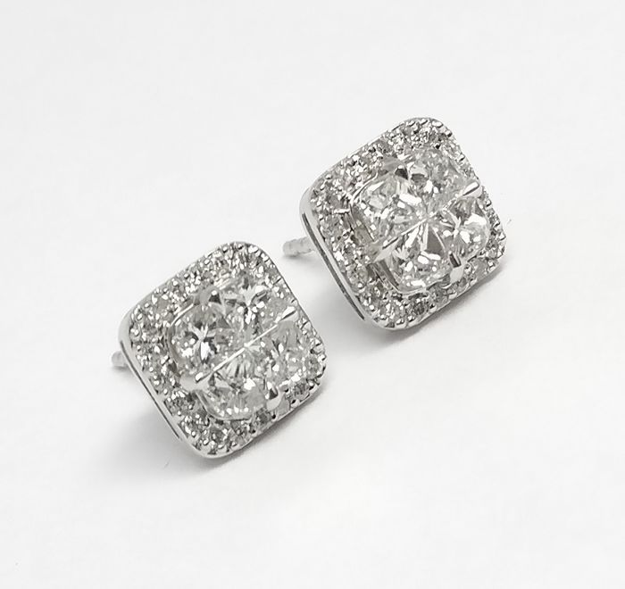 Earrings - White gold - Natural (untreated) - 1.44 ct - Diamond and Diamond