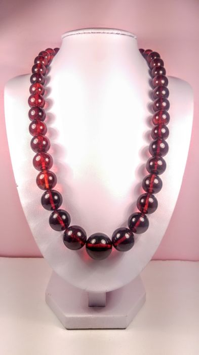 Cherry colour modified round beads Baltic Amber necklace, length 55 cm, 58 grams