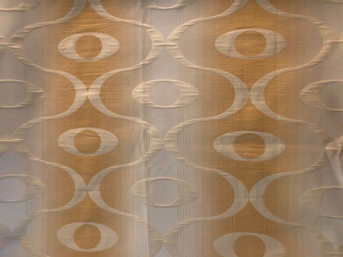 7.28 square metres of a space age damask fabric - colour: shaded ochre with stripes - fabric