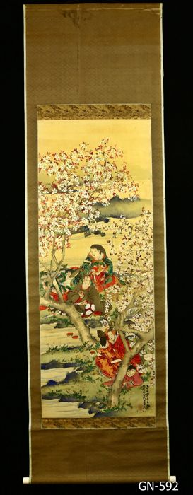 Hand painted hanging scroll - Signed 'Ganrei' 岸禮 - 'Kyokusui-no-en' 曲水の宴 - Heian courtiers and ladies composing poetry beneath cherries in blossom - Japan - 1908 (Meiji 41 戊辰)