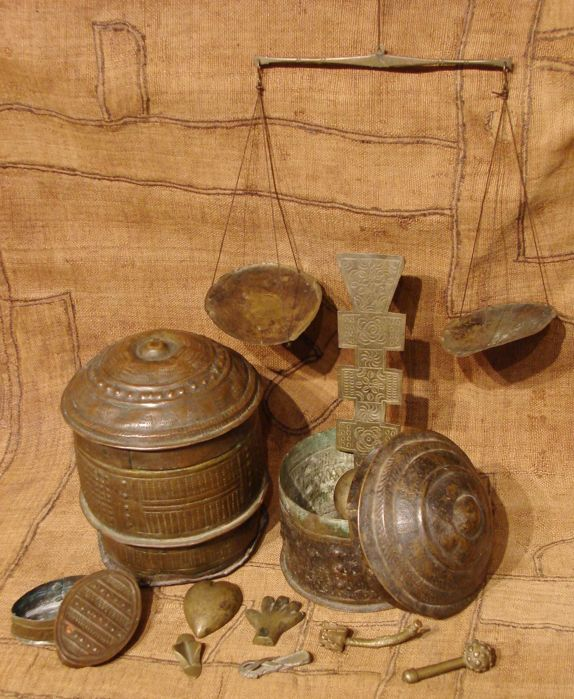 Collection 3 gold dust boxes, 1 scale, 1 spoon and 6 weights-ASHANTI-Ghana Gold Coast
