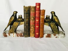 """JAMAR"" beautiful set of Art Deco bookends - Nice representation of swallows at their nest - beautiful golden/bronze patinated zamac"
