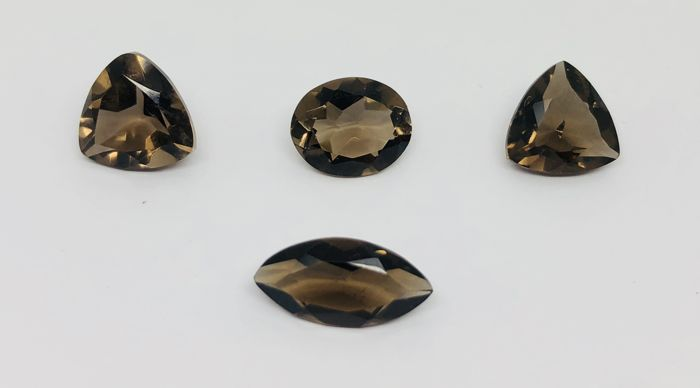 Smoky quartz - 11.50 ct - 4 stones