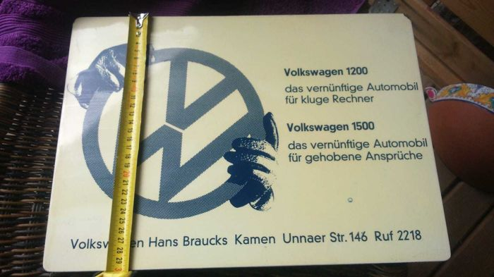 Signage - VW Volkswagen Dealer Sign Shield - 1960-1970