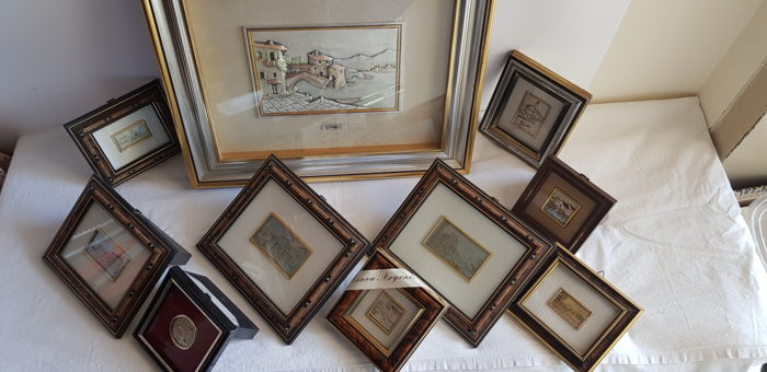 Batch of framed bas-relief in silver leaf 800/925 - Italy - 1950-1999