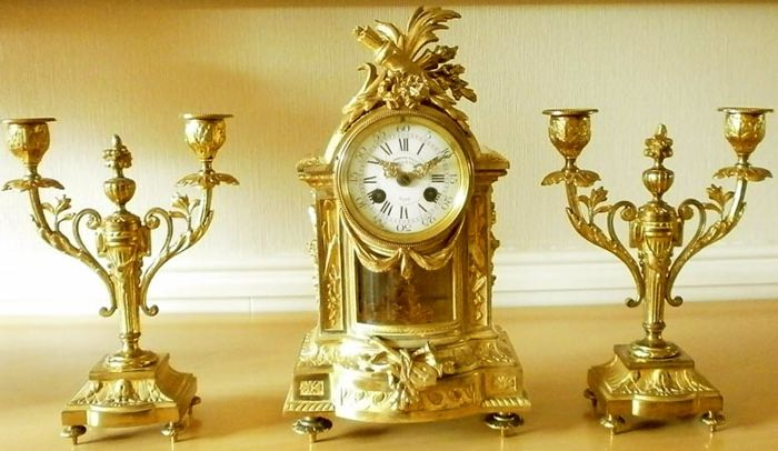 Mantel clock - L. Charvet Lyon - Bronze (gold plated / silver plated / patinated / cold-painted) - Mid 19th century