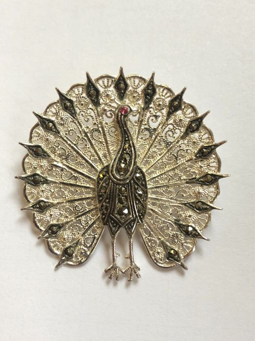 Vintage brooch, marcasite jewellery with tourmaline