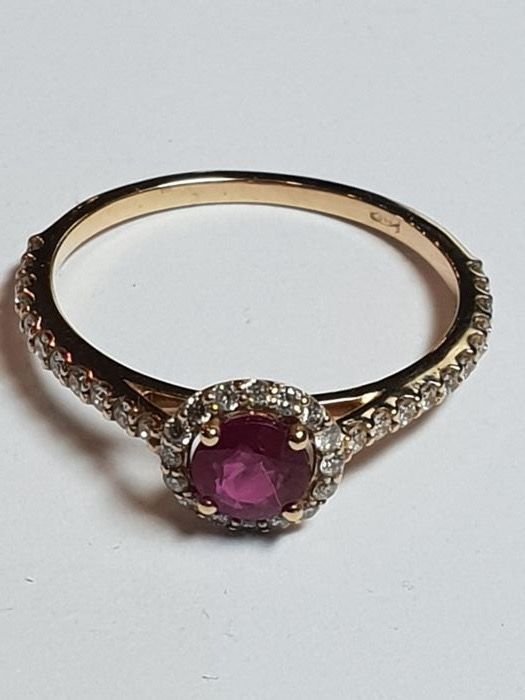 Pink gold - Ring - 0.50 ct Ruby - Diamond