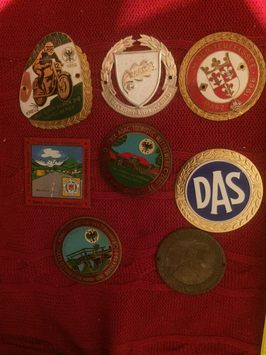 Badges - 9 piece ADAC plaque car badges - 1966-1991