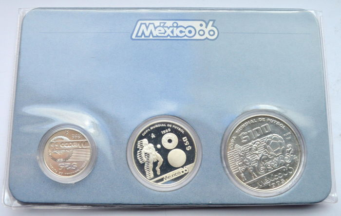Mexico - 25, 50, 100 Dollar 1985 (3 coins) - 925 Silver (58 gr in total)