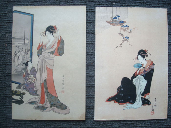 Two wood block prints after  Chobunsai Eishi (1756-1829) (reprint) - With 'Ginko' 吟光 (?) seal - Two bijin - Japan - Early 20th century (Meiji Period)