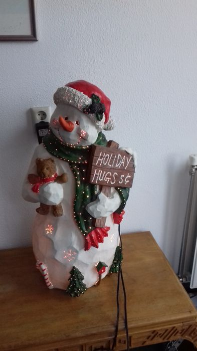 Large illuminated snowman with flickering lights - Resin/Polyester