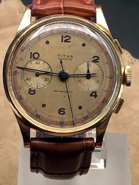 "Titus - Chronograph 18k - ""NO RESERVE PRICE"" - L148 - Men - 1950-1959"