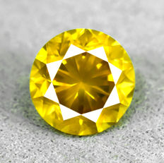 Diamant - 1.45 ct - Brilliant - Fancy Intense Greenish Yellow - SI1