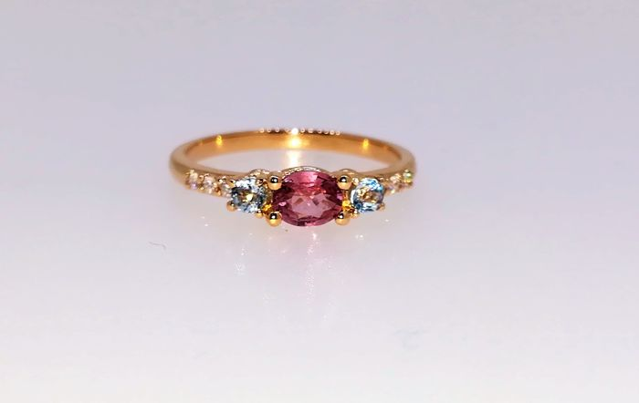 Ring - Pink gold - Commonly treated - 1 ct - Sapphire and Diamond