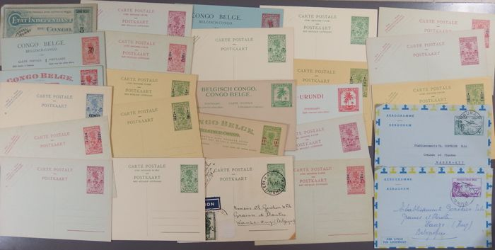 Belgian Congo - 27 old postcards, mostly MH