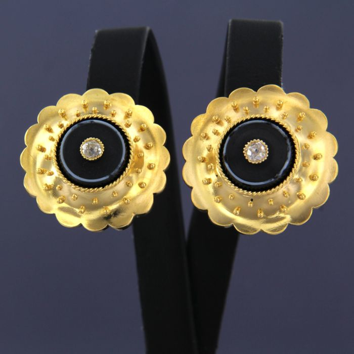 18 kt Gold - Ohrringe - 0.20 ct Diamant - Onyx