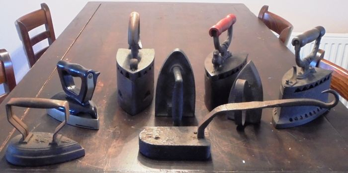 Various, including ETNA and CTE - antique collection of irons - collection of 8 - bakelite, iron (cast/forged)