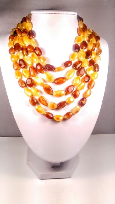 Royal Egg yolk- Ruby colour 100% Genuine Long Baltic Amber necklace, 70 grams