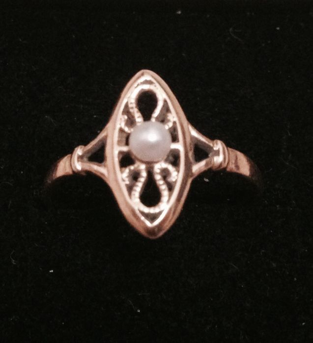 Ancienne navette  - Ring - Gold - Pearl