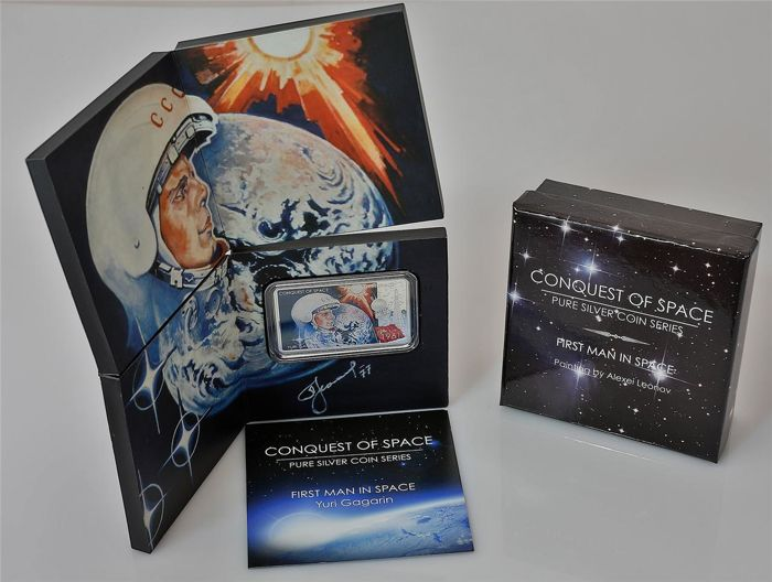 Niue - 2 Dollar - 2011 - Conquest   of Space First Man in Space Y. Gagarin 1 Oz - Silver