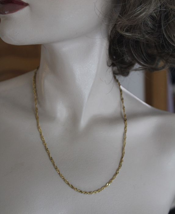 Turned worked Necklace Chain 750 / 18 k Yellow Gold - 51 cm / 20 inches