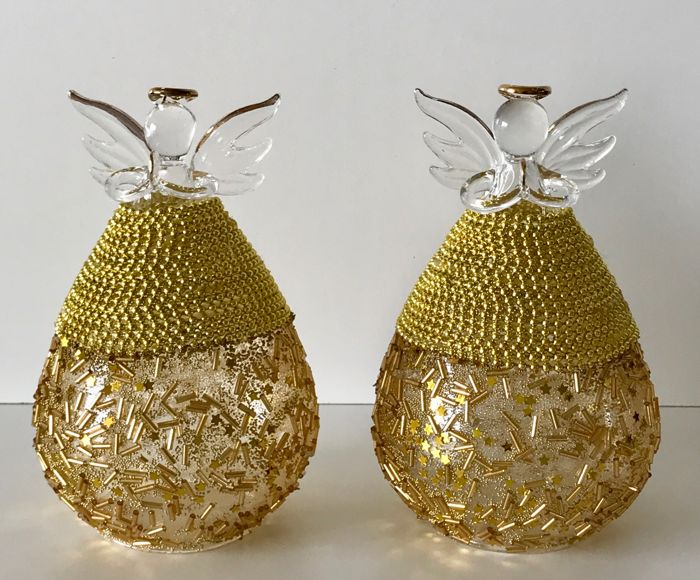 2 Venetian Angels with gold decoration - Glass
