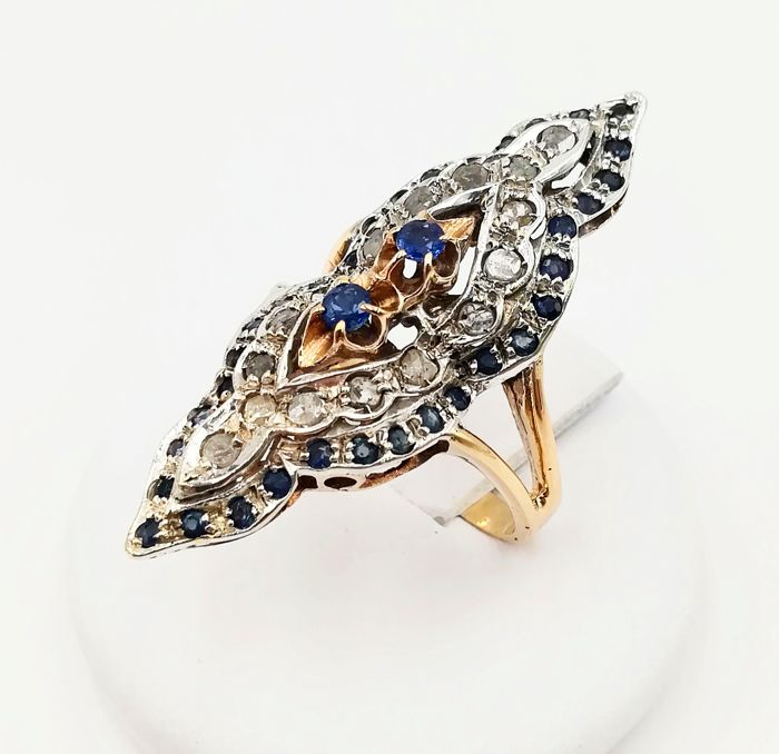 Ring - Gold, Silver - Natural (untreated) - 1.16 ct - Diamond and Sapphire