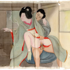 Original shunga erotic painting on silk by an unknown artist - At the Window - Japan - ca. 1900