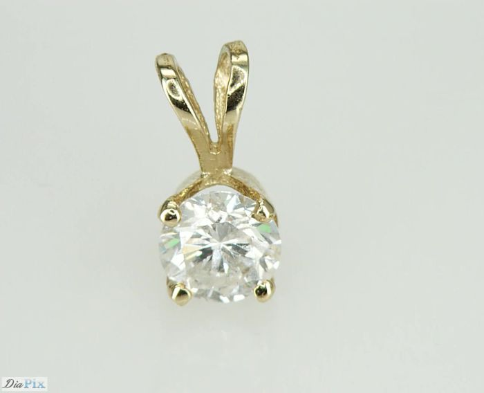 """14"" Karat Yellow Gold Solitaire Diamond Pendant 0.67ct.  D SI2 Natural Diamond - No Reserve Price"