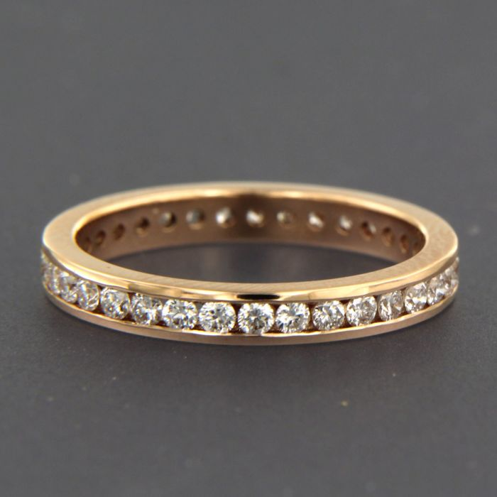 - no reserve - 18 kt rose gold ring set with 35 brilliant cut diamonds of in total approx. 0.80 carat - ring size: 17.25 (54)