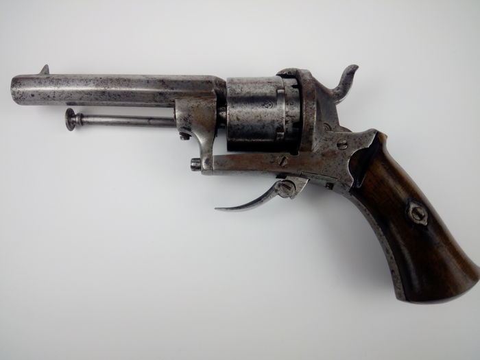 Antique Belgian Rare 19thC 7mm Pinfire Revolver - Gun - ELG