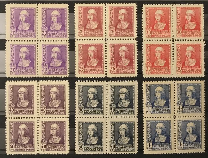 Spain 1938/1939 - Isabella I, the Catholic. Complete set in block of 4 - Edifil 855/860