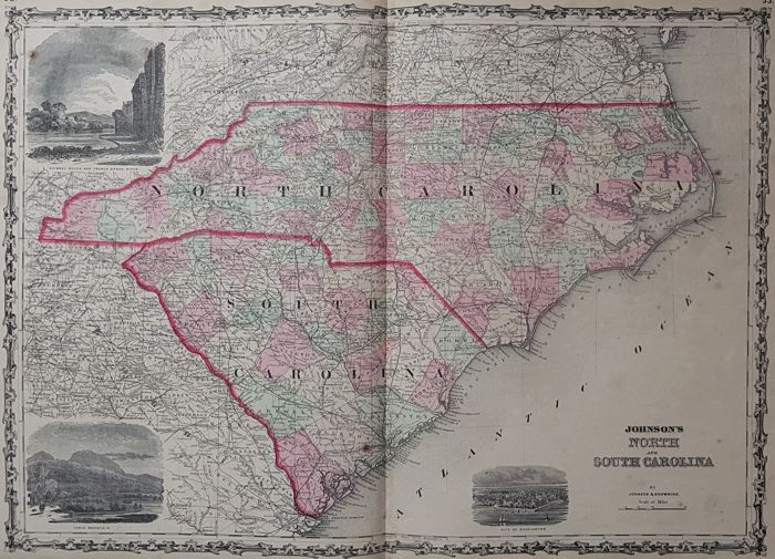 USA, North Carolina, South Carolina; Johnson & Browning - Johnson's North and South Carolina - 1862