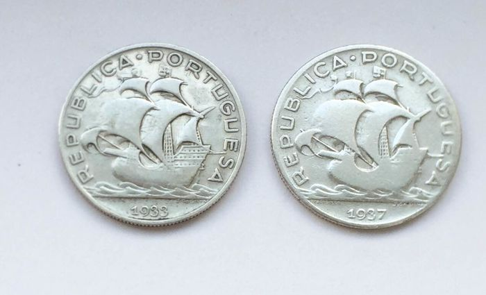 Portugal - Republic - 5 Escudos 1933 & 1937 - Silver