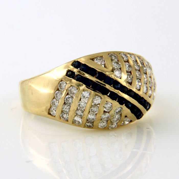 18 kt yellow gold ring, set with 24 brilliant cut sapphires and 46 brilliant cut diamonds, ring size: 17.25 (54)