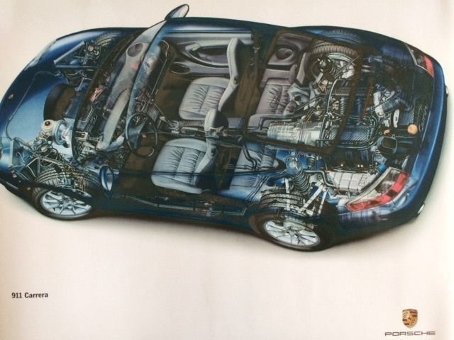 Decorative object - Porsche 911 Carrera Cutaway Dealer Showroom Poster - 1990 (1 items)